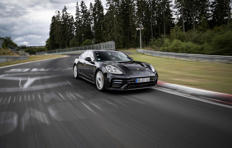 Photo wallpaper black, Porsche, Panamera, tests, The Nürburgring, 2020, Nordschleife, предсерийный