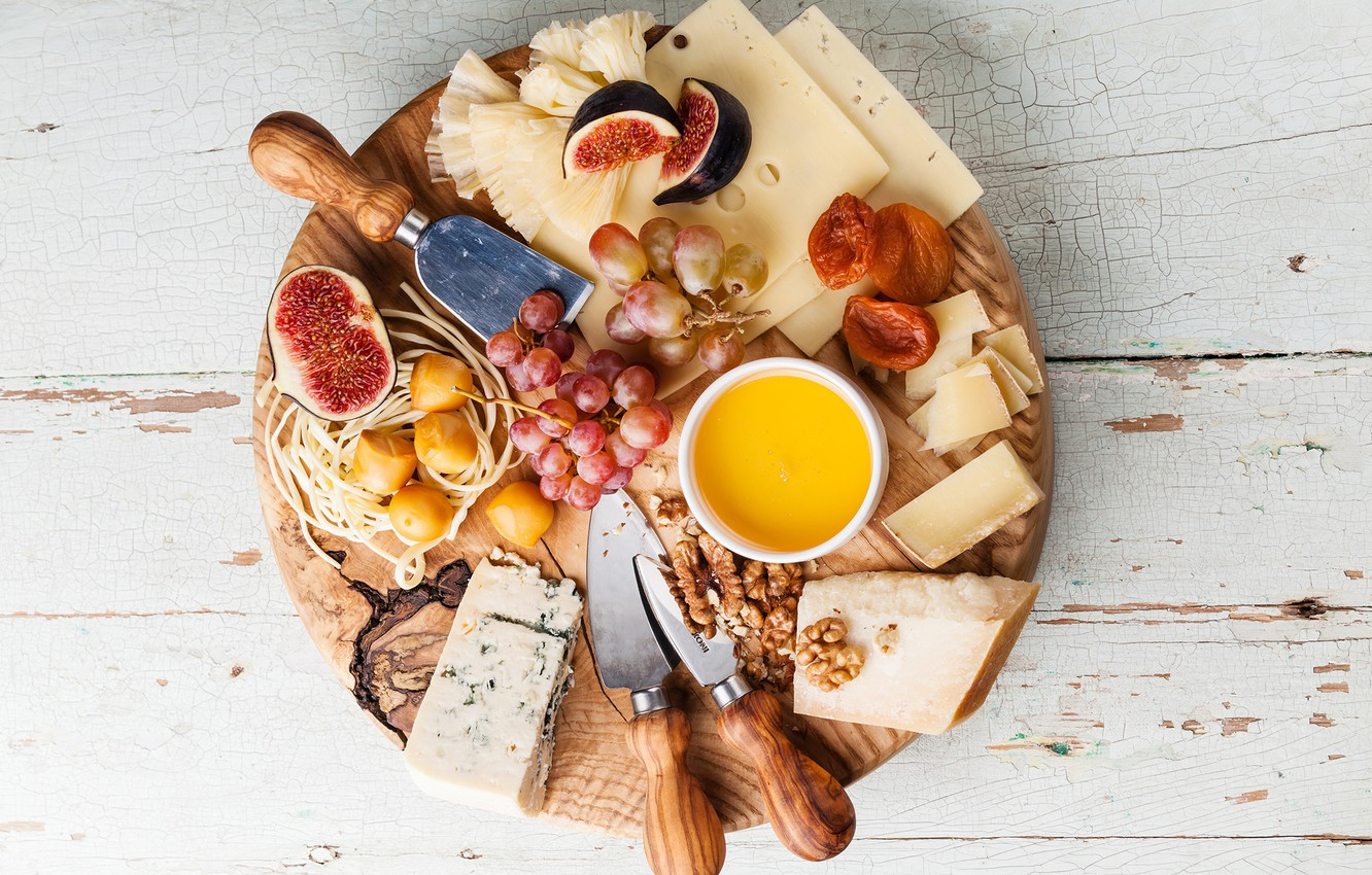 Photo wallpaper cheese, grapes, Board, nuts, figs