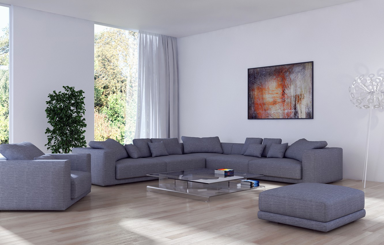 Photo wallpaper design, room, sofa, Windows, picture, pillow, living room
