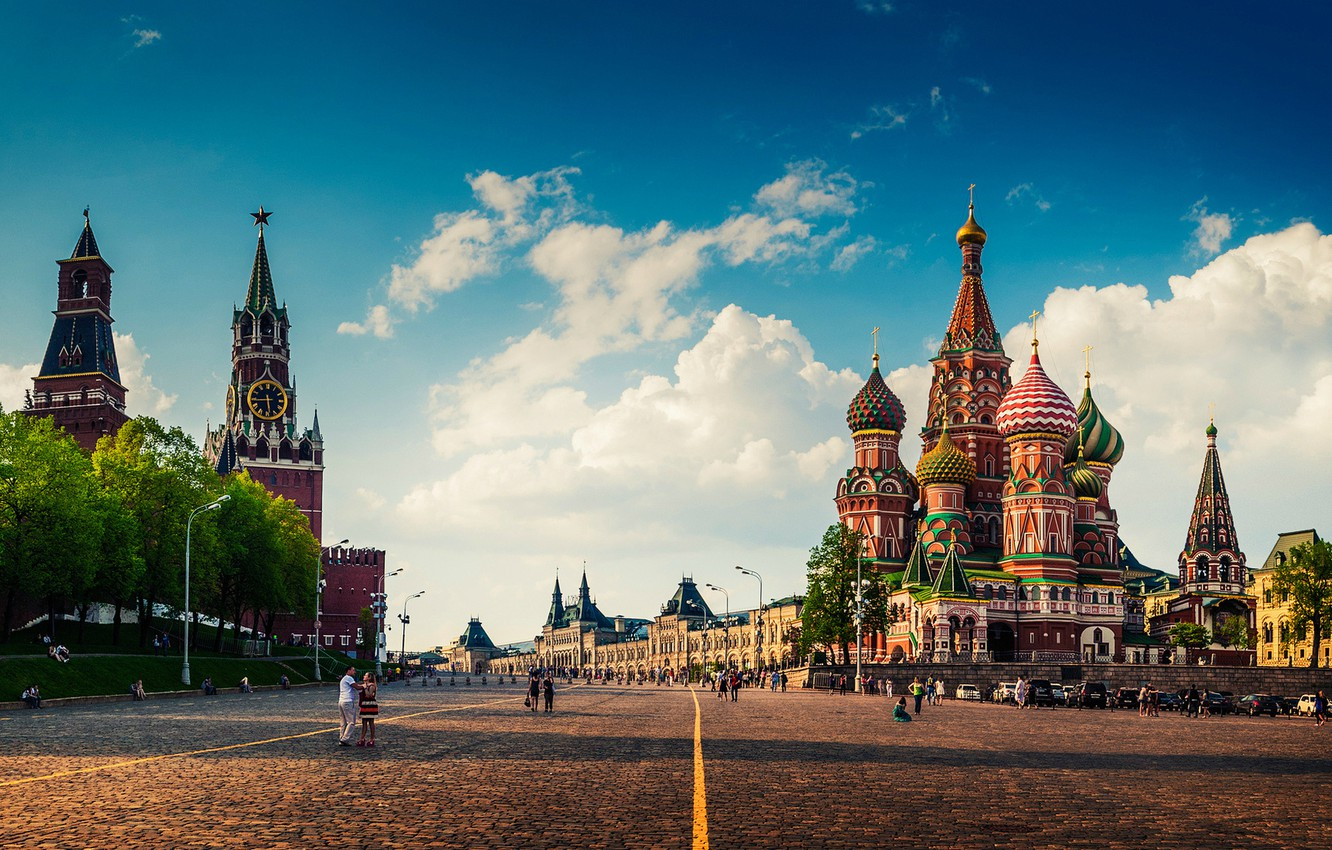 Photo wallpaper summer, Moscow, The Kremlin, St. Basil's Cathedral, Pokrovsky Cathedral, Red Square, GUM, Cum, Assumption