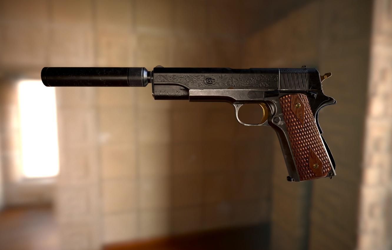 Photo wallpaper gun, weapons, art, Najah Benothman, COLT 1911 - Project 1984