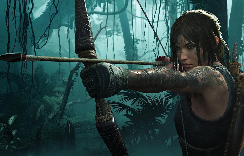 Photo wallpaper hair, bow, Tomb Raider, Lara Croft, Shadow of the Tomb Raider