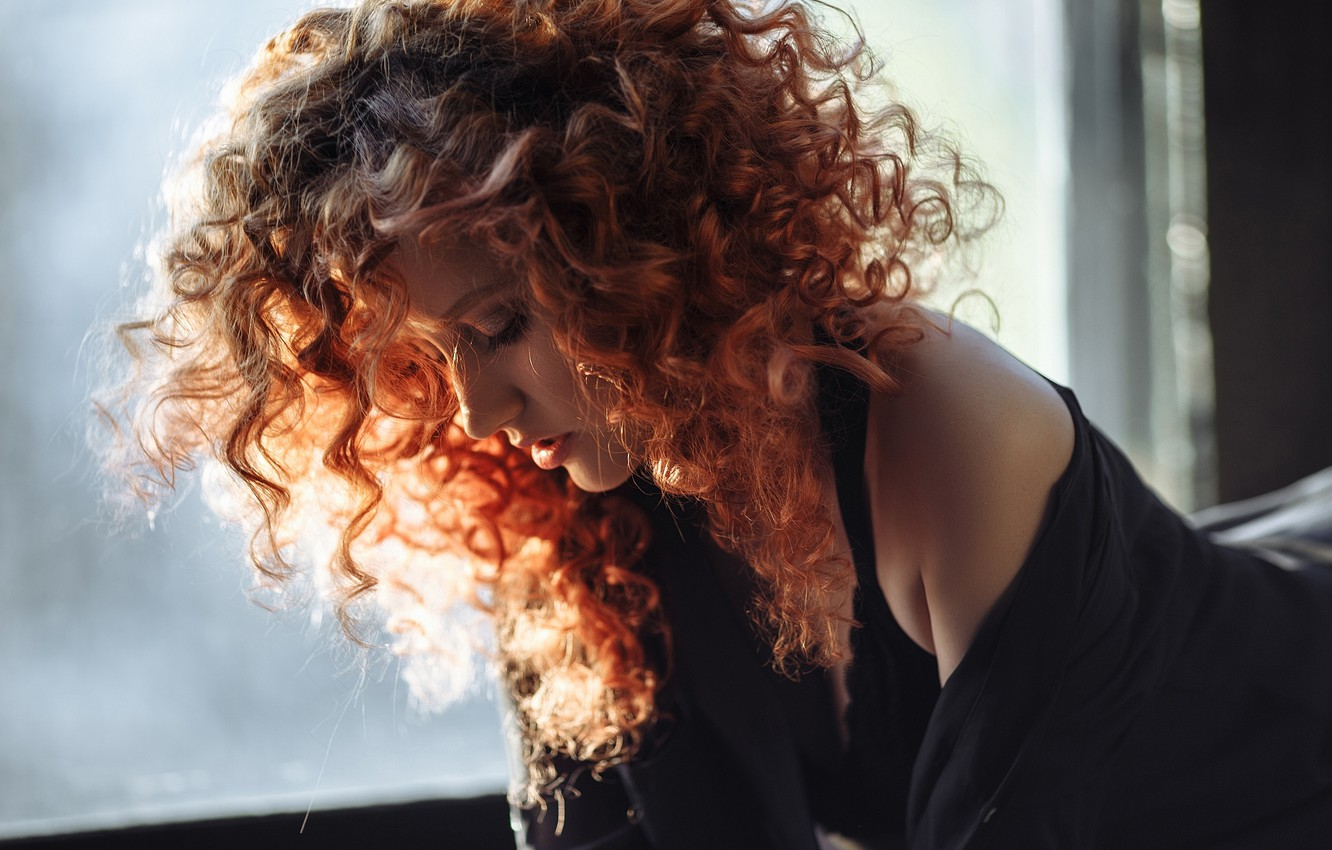 Photo wallpaper girl, face, hair, portrait, red, curls, redhead, Alexis Iordanova, by Catherine Gavrik