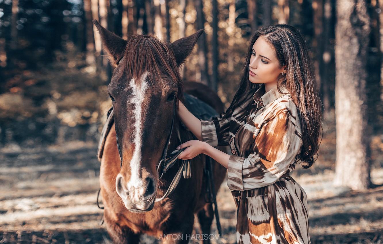 Photo wallpaper girl, horse, horse, Anton Kharisov, Maria Bashmakov