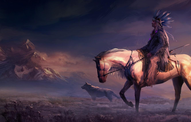 Wallpaper Field Animals Art Mountains Rider Horse Digital