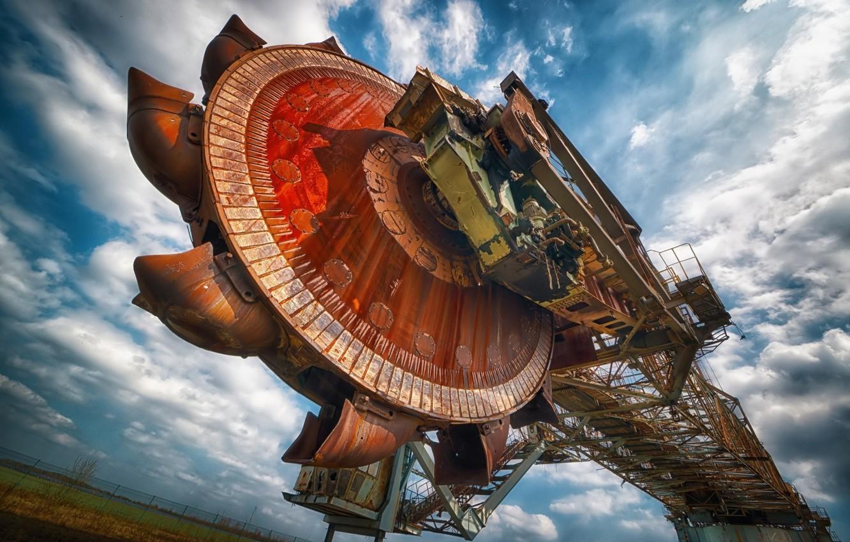 Photo wallpaper the sky, loader, buckets