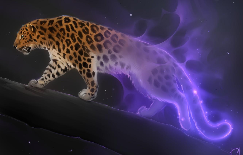 Photo wallpaper fantasy, art, big cat, Alexander Khitrov, GaudiBuendia, night star, leopard