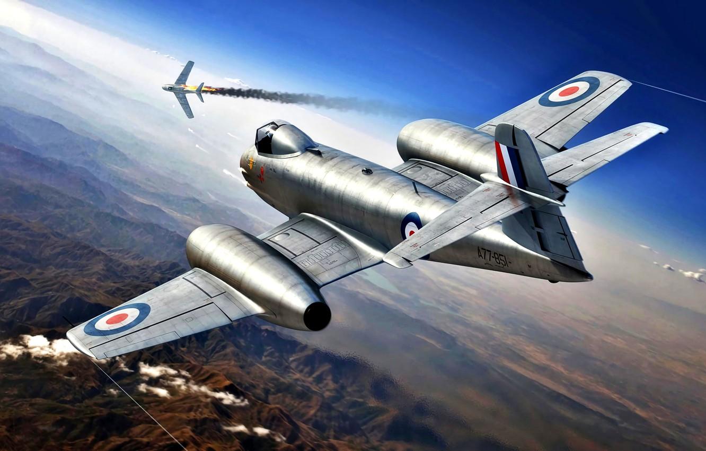 Photo wallpaper fighter-interceptor, The Korean war 1950-1953, Meteor, Gloster, F.Mk.8