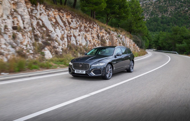 Photo wallpaper vegetation, Jaguar, slope, universal, on the road, Jaguar XF, 2020, XF, XF Sportbrake
