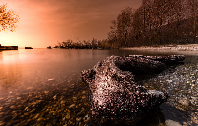 Photo wallpaper sunset, nature, lake