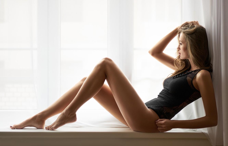 Photo wallpaper girl, pose, figure, window, legs, body, on the windowsill