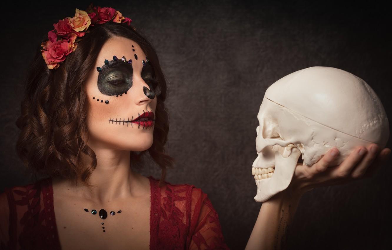 Photo wallpaper girl, skull, wreath, paint