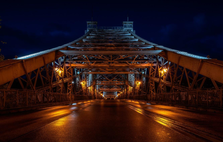Photo wallpaper bridge, night, Dresden