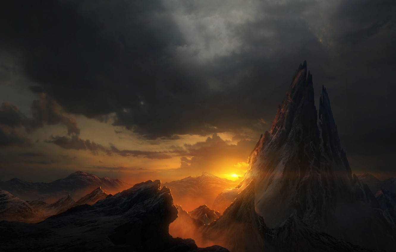 Wallpaper Sunset The Sun Clouds Mountains Snow Mountain View