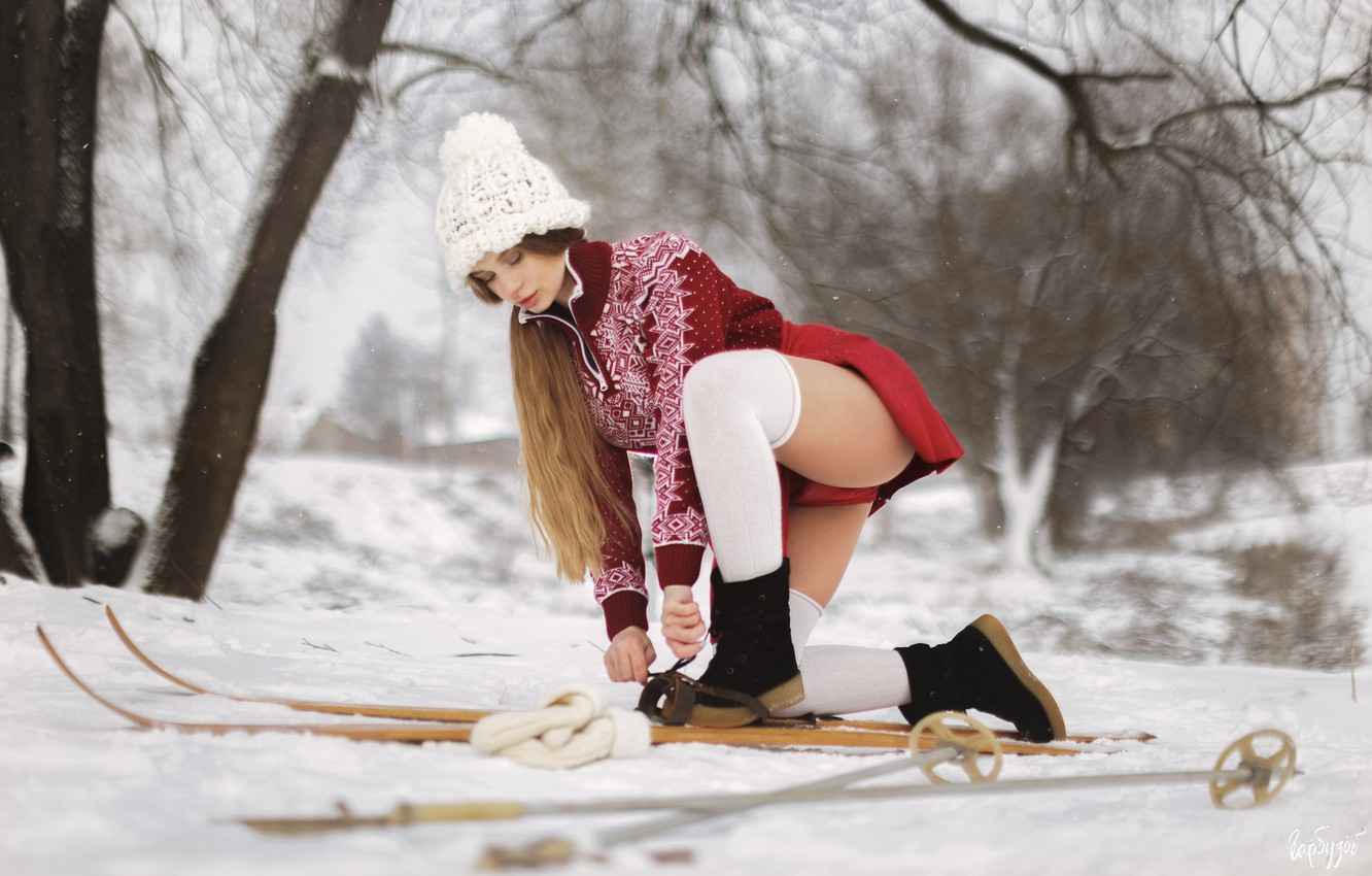 Photo wallpaper winter, girl, snow, nature, ski, brown hair, skier, Ilya Garbuzov