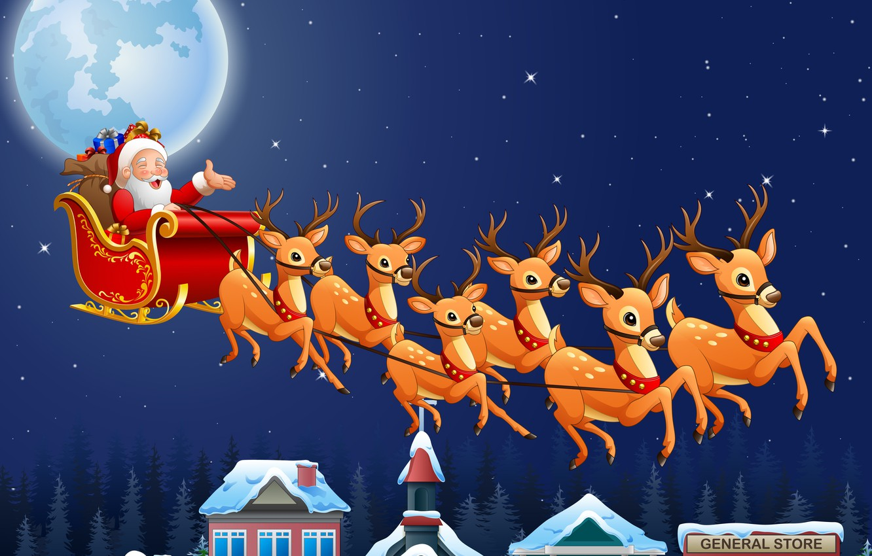 Photo wallpaper photo, The sky, Night, Stars, The moon, Flight, New year, Deer, Santa Claus, Sleigh, Vector …