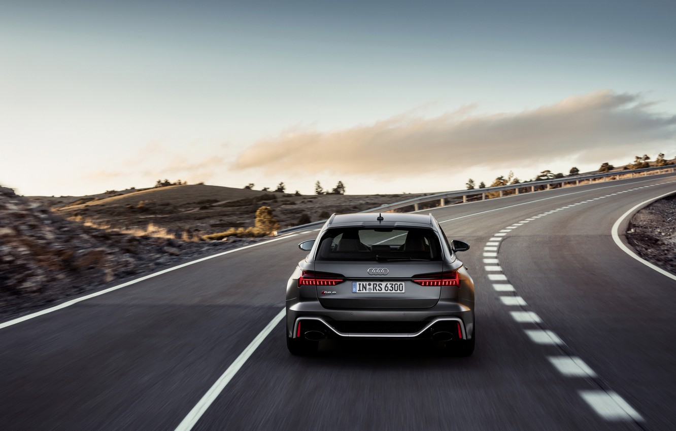 Photo wallpaper Audi, back, universal, on the road, RS 6, 2020, 2019, dark gray, V8 Twin-Turbo, RS6 …