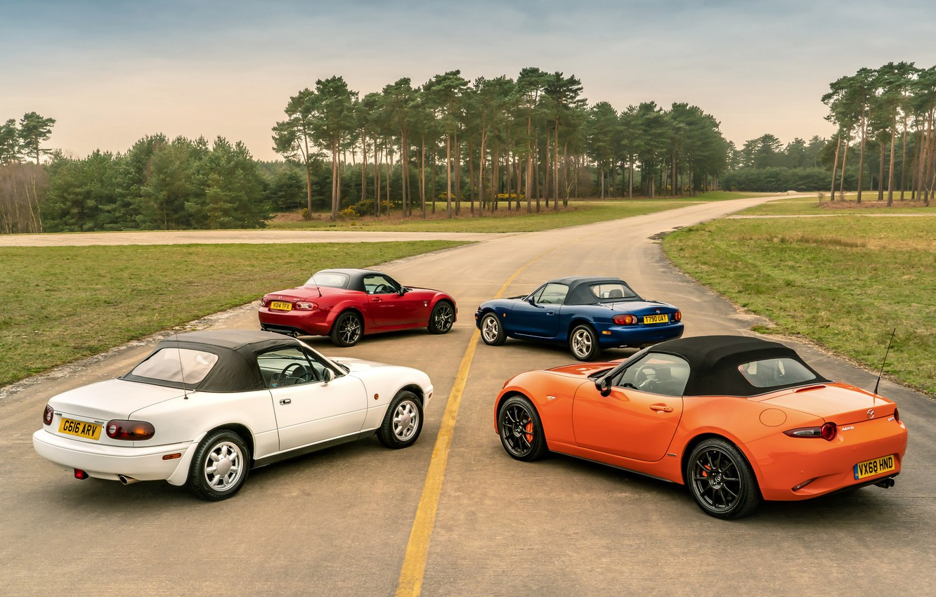Photo wallpaper roof, Mazda, MX-5, roadsters, four generations (NA-NB-NC-ND)