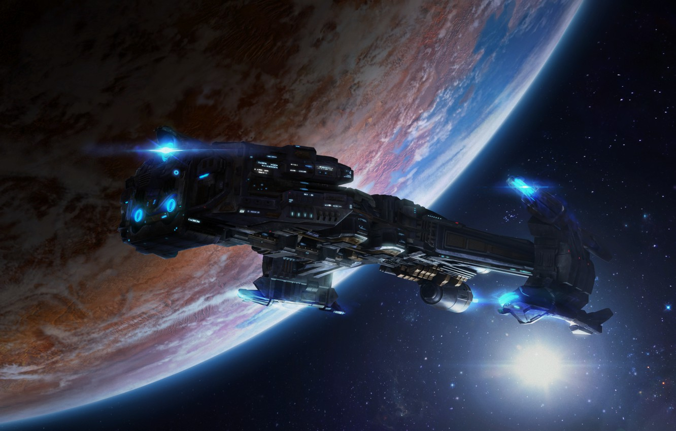 Photo wallpaper space, planet, starcraft, spaceship, cruiser, strategy, Terran, remastered, terrans, battlecrusier