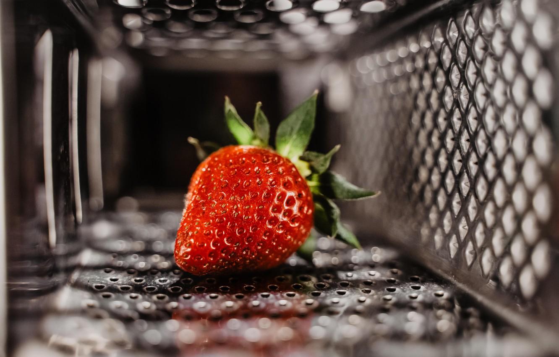 Photo wallpaper berry, metal, red, close-up, food, macro, fruit, blur, bokeh, strawberry, mesh, 5k hd background
