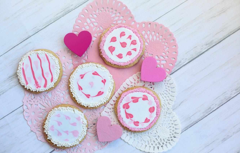 Photo wallpaper pink, cookies, hearts, heart, wood, pink, sweet, cookie