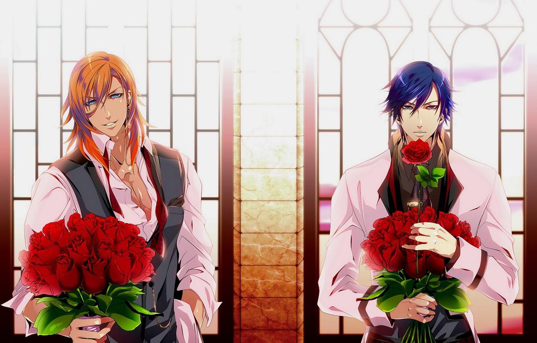 Photo wallpaper flowers, anime, art, guys, bouquets, Uta no Prince-sama