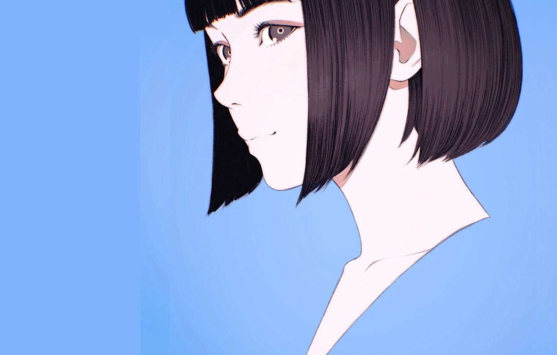 Photo wallpaper face, haircut, blue background, bangs, portrait of a girl, Ilya Kuvshinov