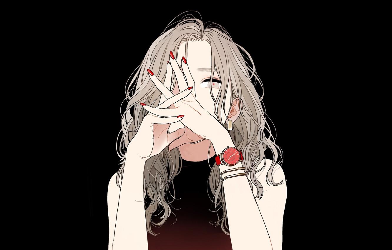 Photo wallpaper hands, bracelet, black background, shoulders, long hair, manicure, wrist watch, portrait of a girl