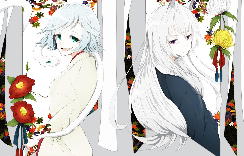 Photo wallpaper flowers, snake, Fox, Kamisaa The Hajimemashita, Tomoe, Mizuki