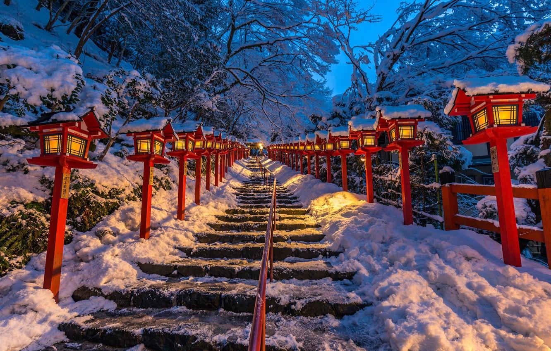 Photo wallpaper Japan, lights, ladder, Japan, Kyoto, Kifune shrine
