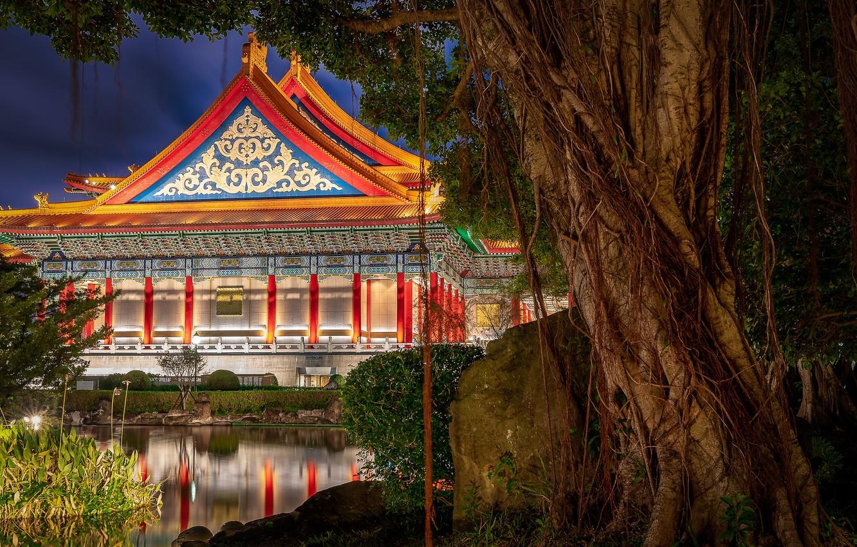 Photo wallpaper pond, tree, China, the building, China, Taiwan, Taipei, Taiwan, Taipei, Liberty Square, National concert hall, …