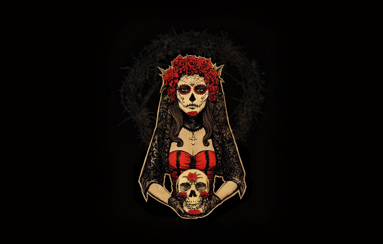 Photo wallpaper Girl, Minimalism, Skull, Style, Background, Calavera, Art, Art, Style, Digital Art, Background, Minimalism, Day of …