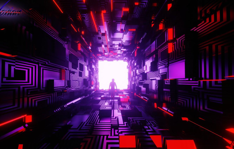 Photo wallpaper room, silhouette, corridor, the tunnel, cube, geometry, cyberpunk, figure, sci-fi, cyberpunk, render, Tsotne Kharshiladze