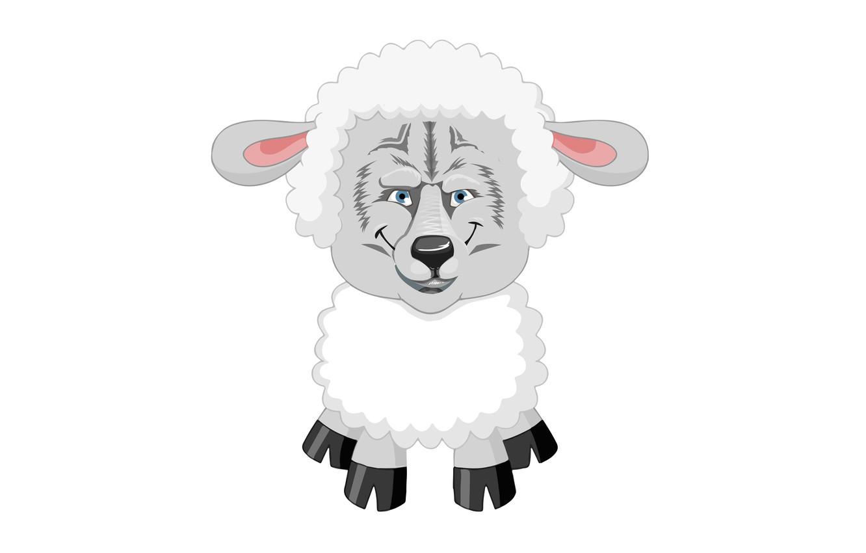 Photo wallpaper wolf, white background, joke, sheep