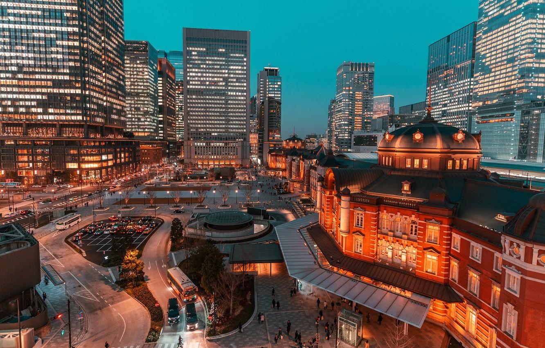 Photo wallpaper lights, the evening, Japan, Tokyo, megapolis