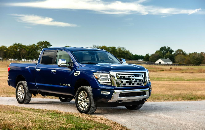 Photo wallpaper blue, Nissan, pickup, Titan, 2020, Titan XD SL