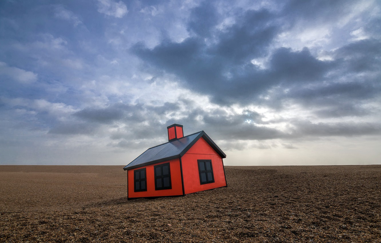 Photo wallpaper the sky, house, desert