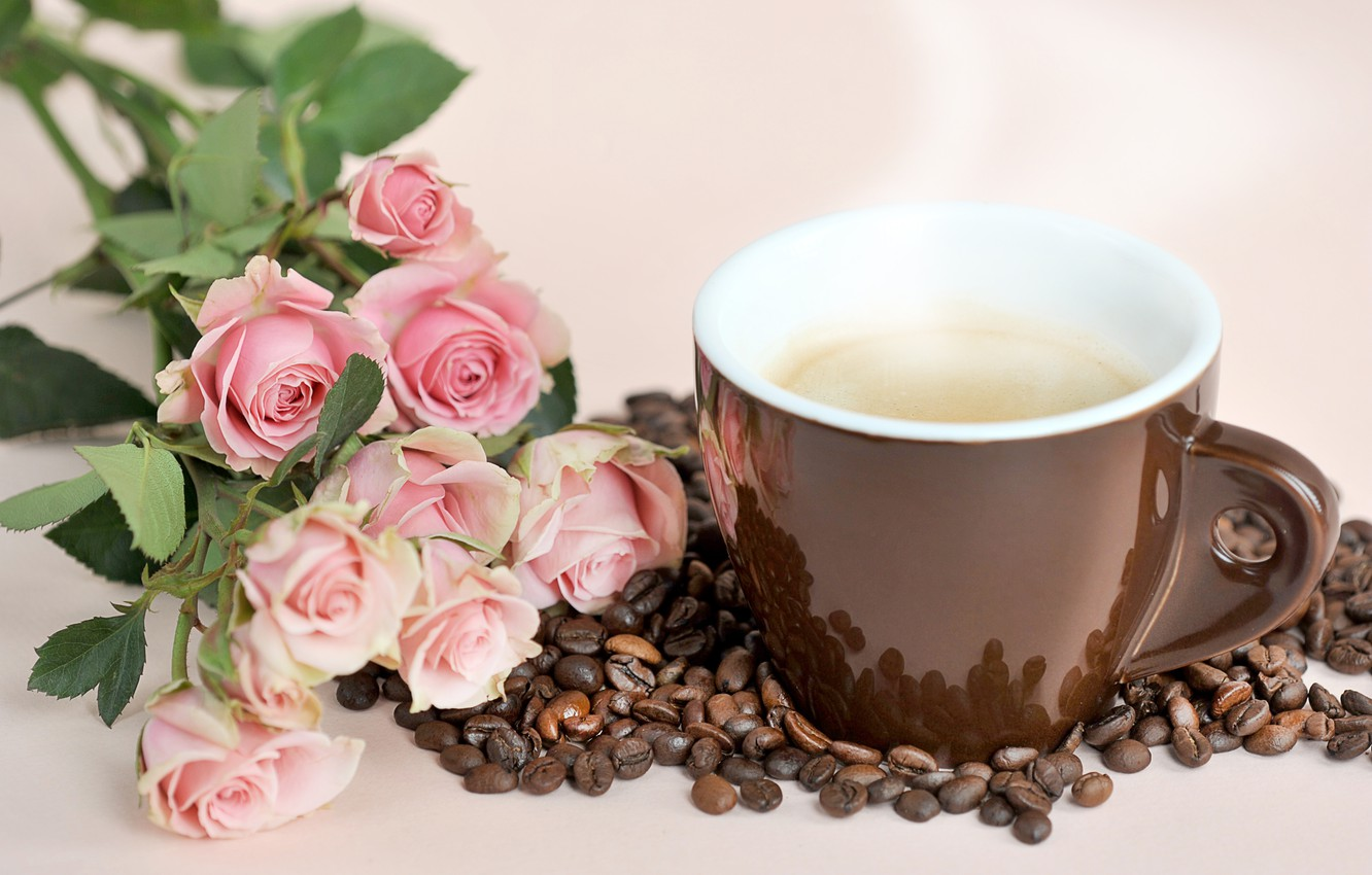 Photo wallpaper roses, bouquet, Cup, coffee beans, INFO@ARTSY.RU, DENO