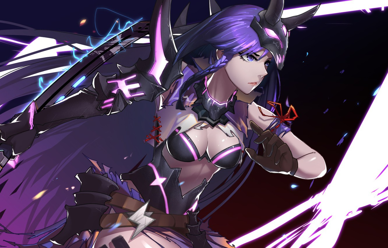 Photo wallpaper girl, sword, cleavage, horns, breast, anime, purple eyes, katana, samurai, mask, warrior, chest, purple hair, …