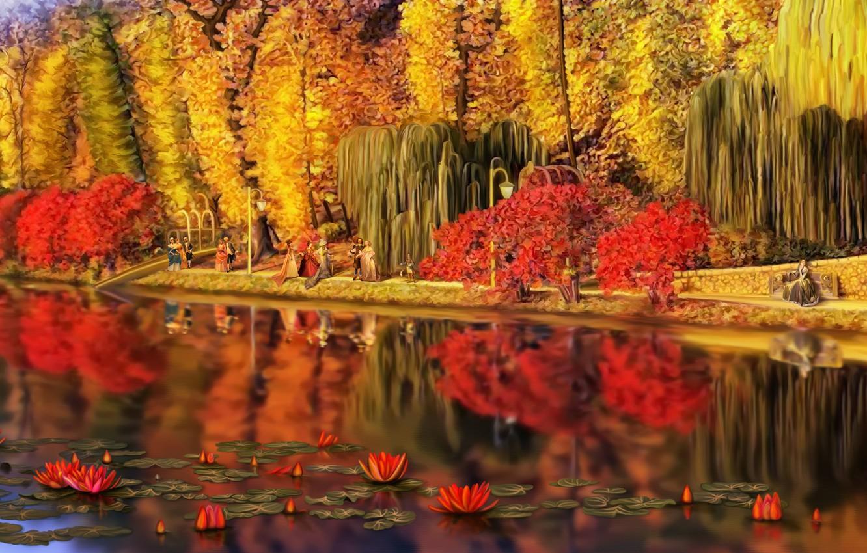 Photo wallpaper landscape, nature, Park, stay, art, walk, Nina Vels, Feofania Park autumn in old Kiev