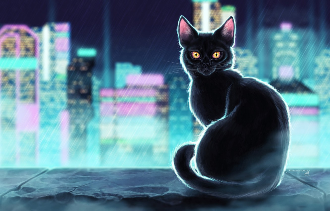 Wallpaper Black Figure The City Neon Cat Rain Art