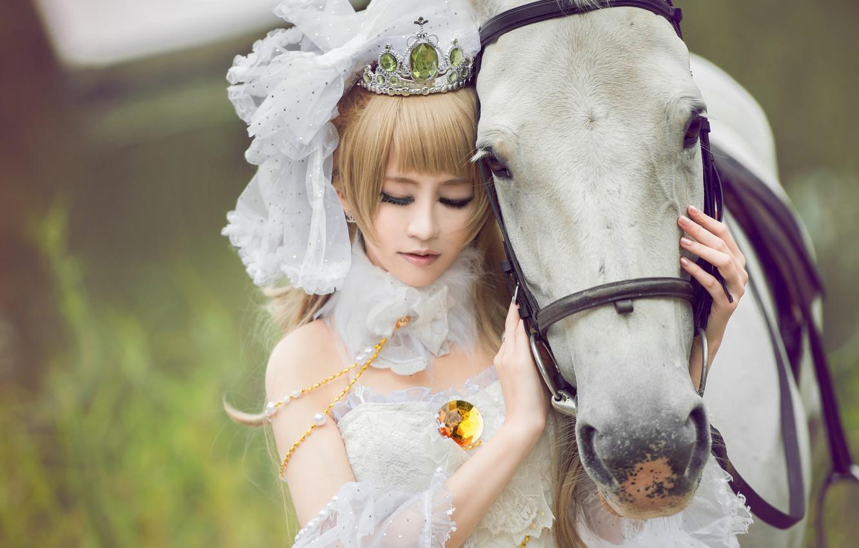 Photo wallpaper girl, horse, horse, Asian