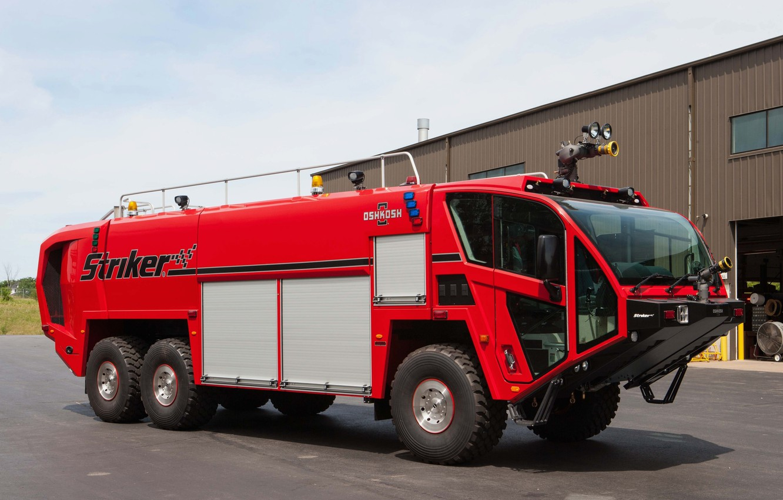Photo wallpaper car, machine, red, red car, wheel, fire truck, Oshkosh, fire truck, big car, Oshkosh Striker …