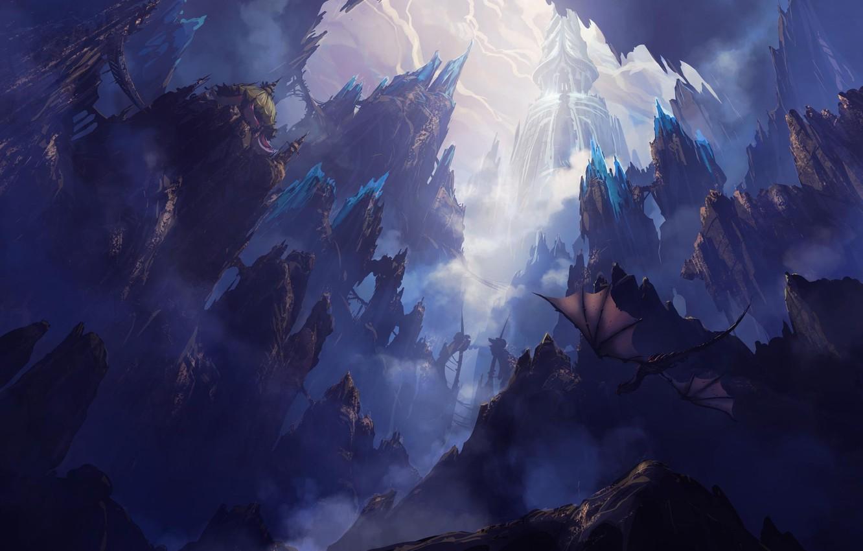 Photo wallpaper flight, landscape, rocks, dragon, fantasy, art
