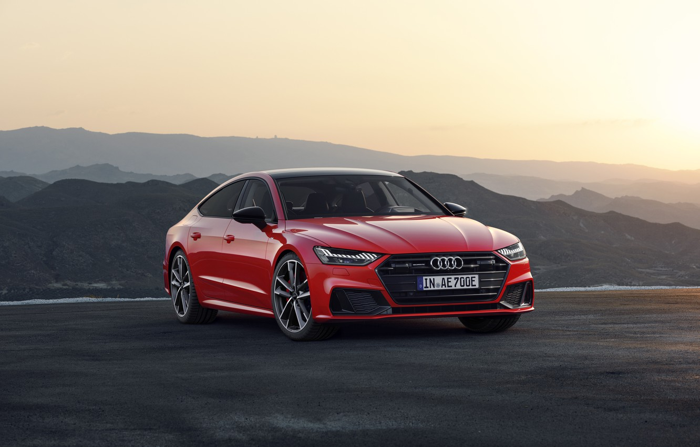 Photo wallpaper sunset, the evening, sedan, Sportback, Audi A7, 2019