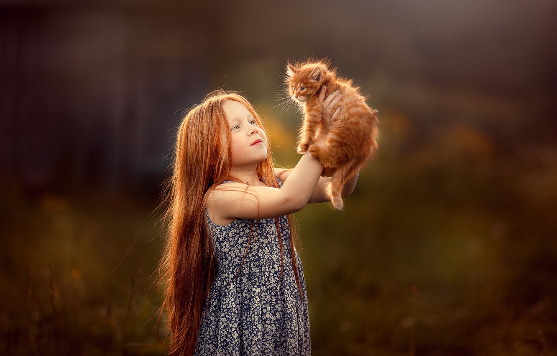 Photo wallpaper kitty, kindness, Girl