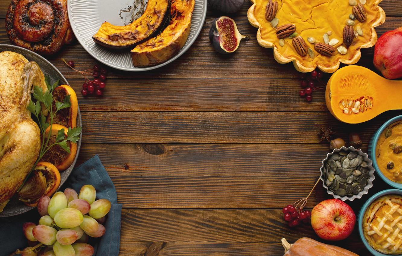 Photo wallpaper autumn, leaves, background, Board, colorful, harvest, pumpkin, fruit, maple, wood, autumn, leaves, fruits, pumpkin, apples, …
