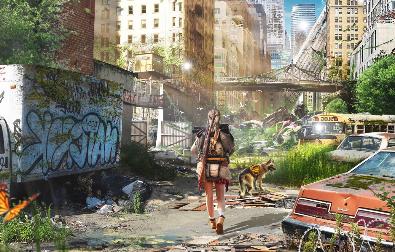 Photo wallpaper Girl, Dog, The city, Machine, Machine, Destruction, Concept Art, Pavel Bondarenko, PAVEL BOND, by Pavel …