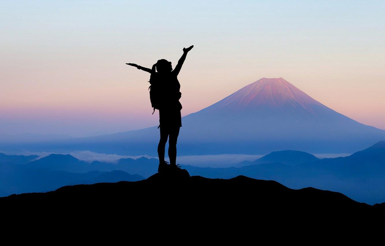 Photo wallpaper girl, mountains, travel, silhouette
