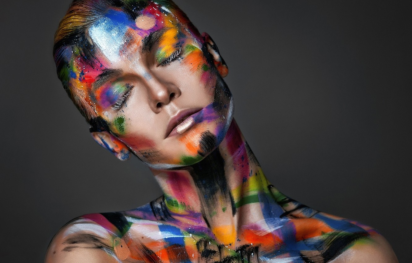Wallpaper Girl Portrait Makeup Body Art Make Up Images For Desktop Section Stil Download